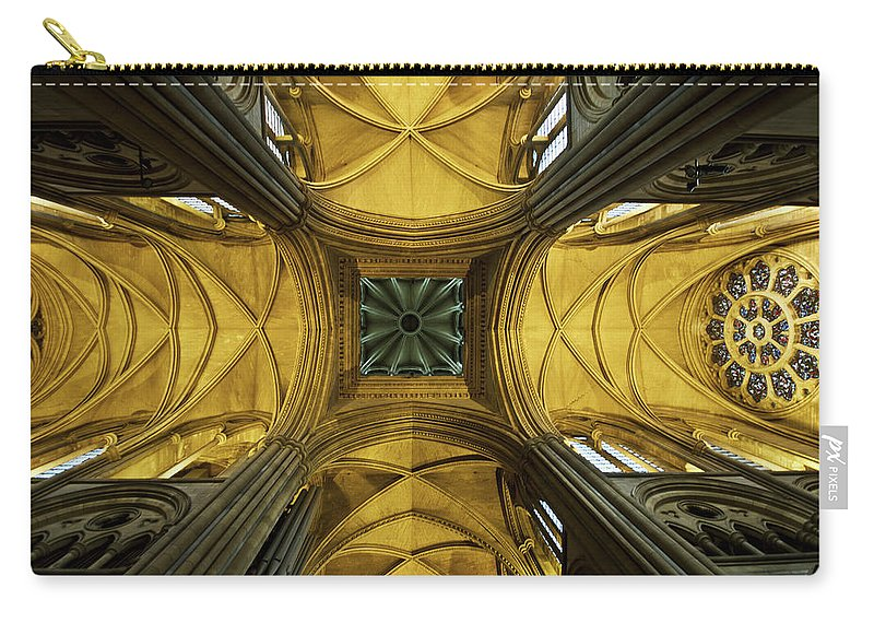 Arch Carry-all Pouch featuring the photograph Looking Up At A Cathedral Ceiling by James Ingham / Design Pics