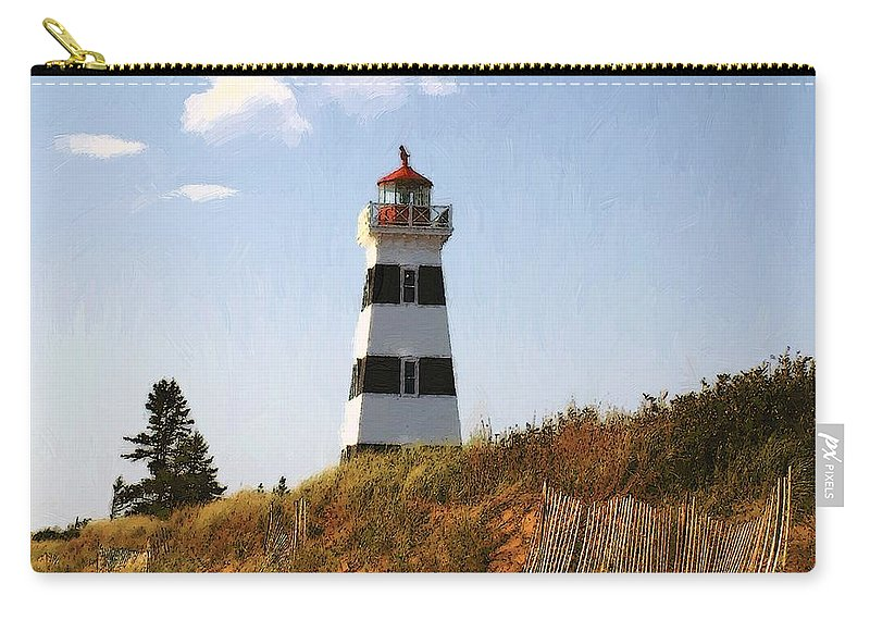 Lighthouse Carry-all Pouch featuring the painting Looking Up From The Dunes At West Point Light by RC DeWinter