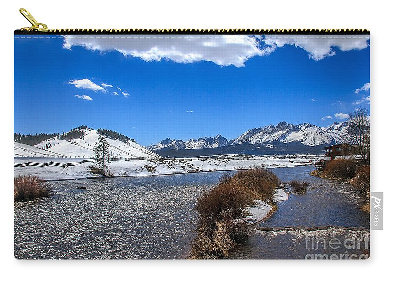 Rocky Mountains Carry-all Pouch featuring the photograph Looking Up The Salmon River by Robert Bales
