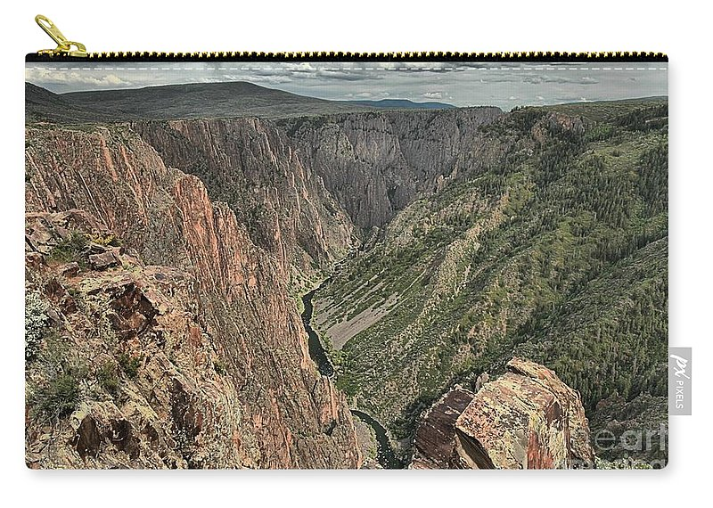Black Canyon Carry-all Pouch featuring the photograph Lookout Below by Adam Jewell