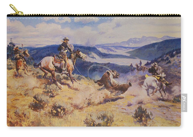 Charles Russell Carry-all Pouch featuring the digital art Loops And Swift Horses Are Surer Then Lead by Charles Russell