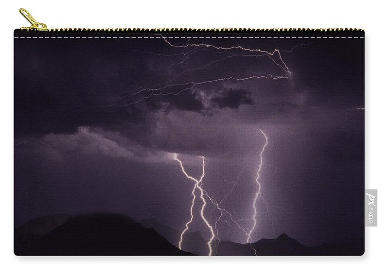 Lightning Carry-all Pouch featuring the photograph Lordsburg   New Mexico by J L Woody Wooden