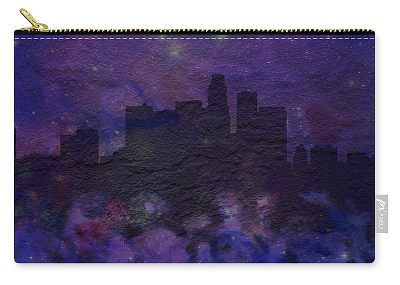 Brick Carry-all Pouch featuring the digital art Los Angeles Skyline Brick Wall Mural by Brian Reaves