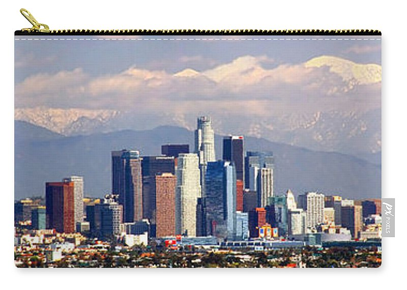 Los Angeles Skyline Carry-all Pouch featuring the photograph Los Angeles Skyline With Mountains In Background by Jon Holiday