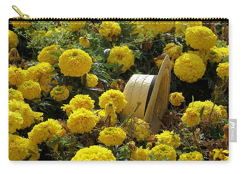 Hat Carry-all Pouch featuring the photograph Lost In Flowers by Ron Harpham