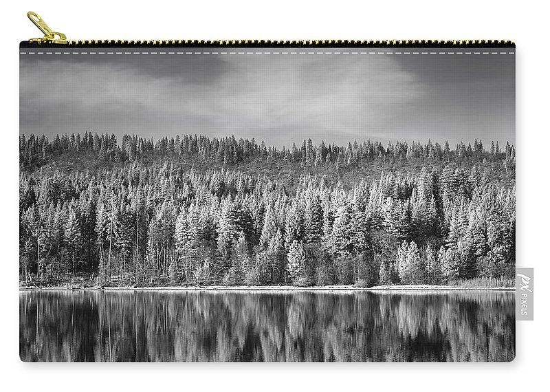 Mcarthur-burney Falls Memorial State Park Carry-all Pouch featuring the photograph Lost In Reflection by Laurie Search