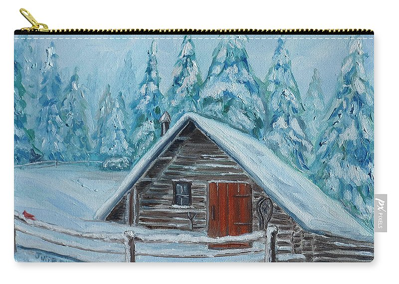 Cabin Carry-all Pouch featuring the painting Lost Mountain Cabin by Julie Brugh Riffey