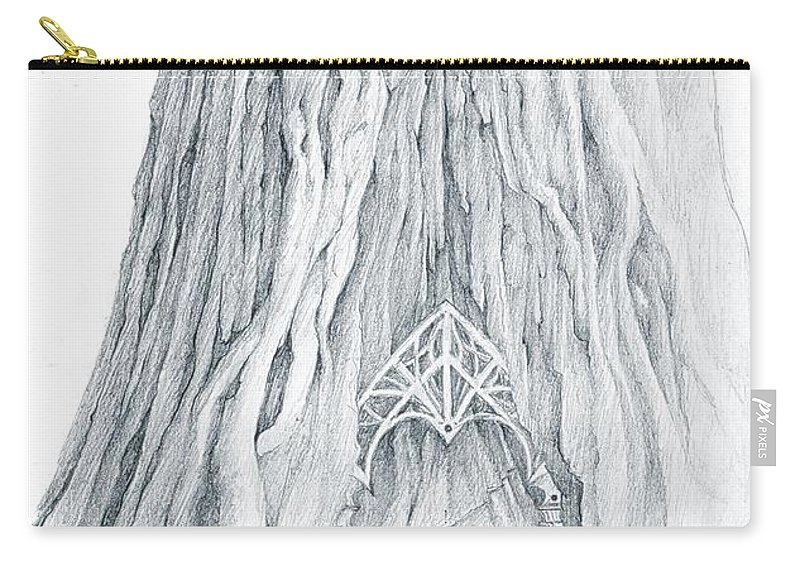 Lothlorien Carry-all Pouch featuring the drawing Lothlorien Mallorn Tree by Curtiss Shaffer