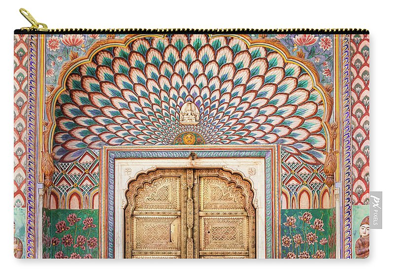 Arch Carry-all Pouch featuring the photograph Lotus Gate In Jaipur City Palace by Hakat
