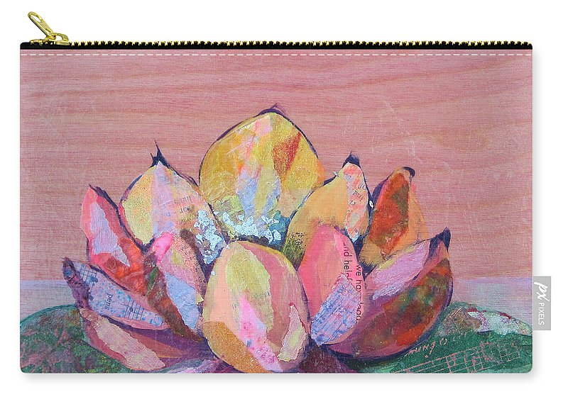 Pink Flower Carry-all Pouch featuring the painting Lotus I by Shadia Derbyshire