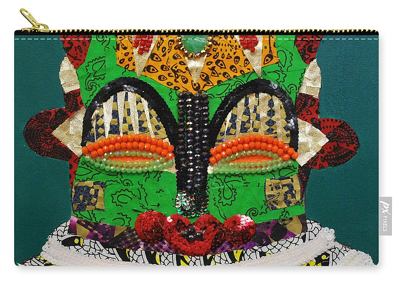 African Mask Carry-all Pouch featuring the tapestry - textile Lotus Warrior by Apanaki Temitayo M
