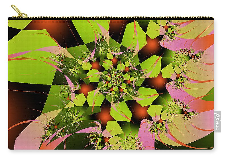 Fractal Art Carry-all Pouch featuring the digital art Loud Bouquet by Elizabeth McTaggart
