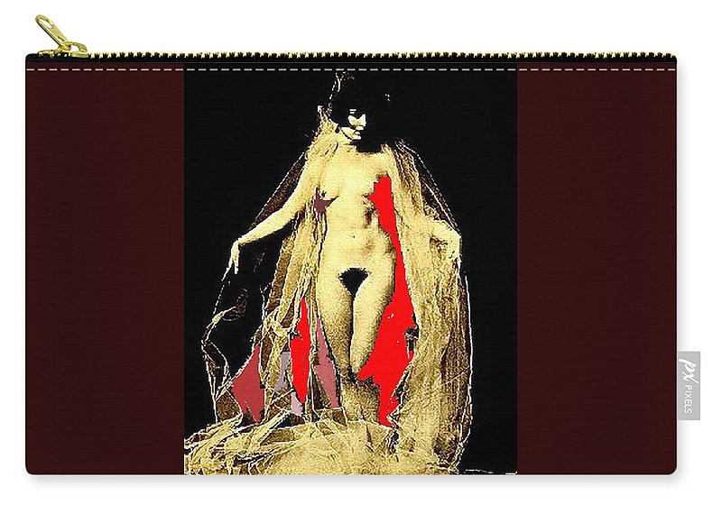 Louise Brooks Nude Color Added Carry-all Pouch featuring the photograph Louise Brooks Nude Circa 1928 by David Lee Guss