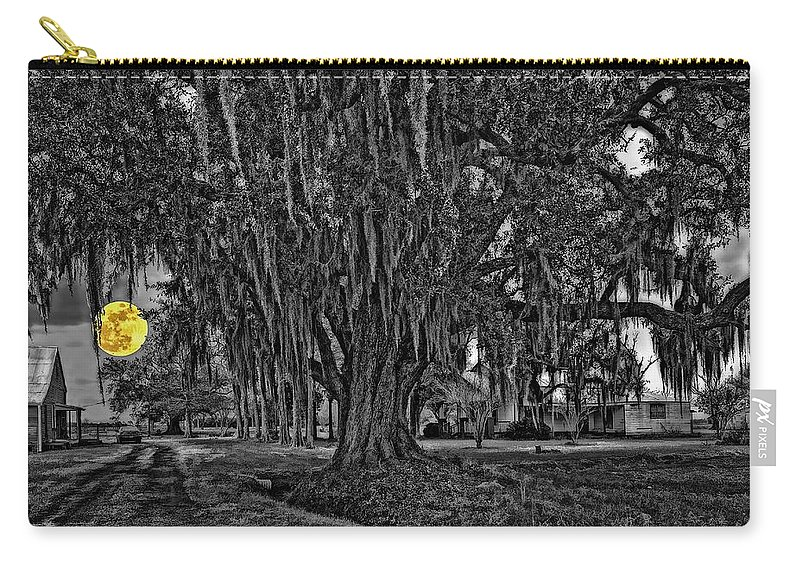 New Orleans Carry-all Pouch featuring the photograph Louisiana Moon Rising Monochrome 2 by Steve Harrington