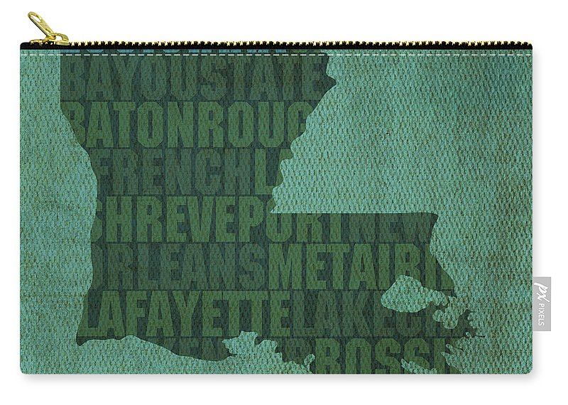 Louisiana Word Art State Map On Canvas Carry-all Pouch featuring the mixed media Louisiana Word Art State Map on Canvas by Design Turnpike