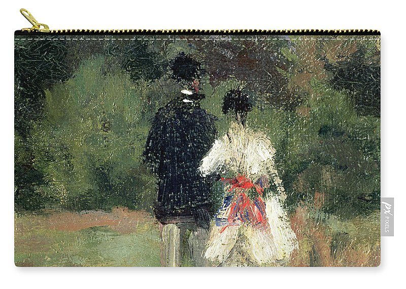 Landscape Carry-all Pouch featuring the painting Louveciennes, Detail Of Lovers by Camille Pissarro