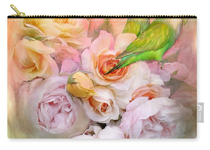 Love Birds Carry-all Pouch featuring the mixed media Love Among The Roses by Carol Cavalaris