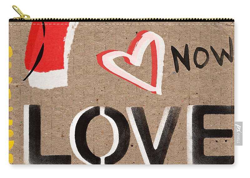 Love Carry-all Pouch featuring the painting Love And Peace Now by Linda Woods