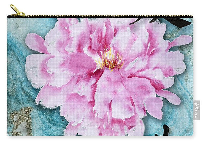 Double Happiness Carry-all Pouch featuring the mixed media Love Double Happiness With Red Peony by Peter v Quenter