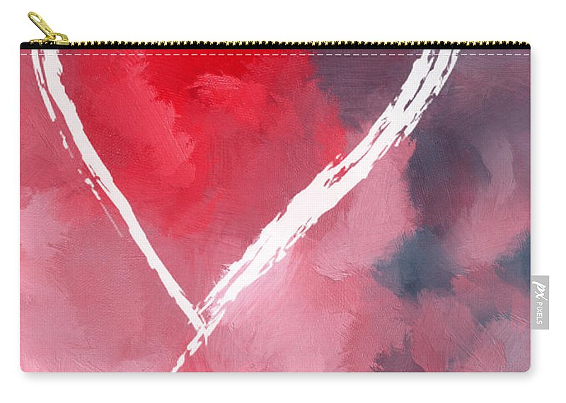Love Lover Loving Heart Lovers Painting Expressionism White Symbol Carry-all Pouch featuring the painting Love Heart by Steve K