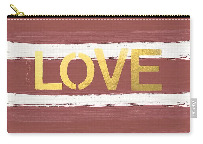 Stripes Carry-all Pouch featuring the painting Love In Gold And Marsala by Linda Woods