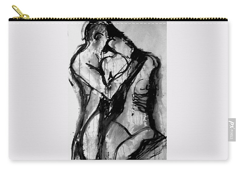 Couple Carry-all Pouch featuring the painting Love Me Tender by Jarmo Korhonen aka Jarko