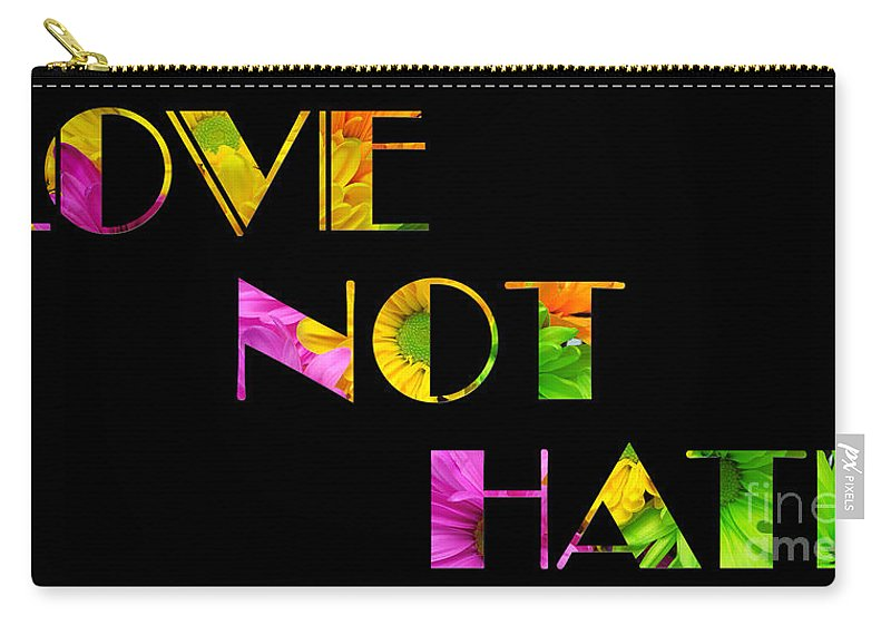 Andee Design Daisy Carry-all Pouch featuring the photograph Love Not Hate Crazy Daisies Black by Andee Design