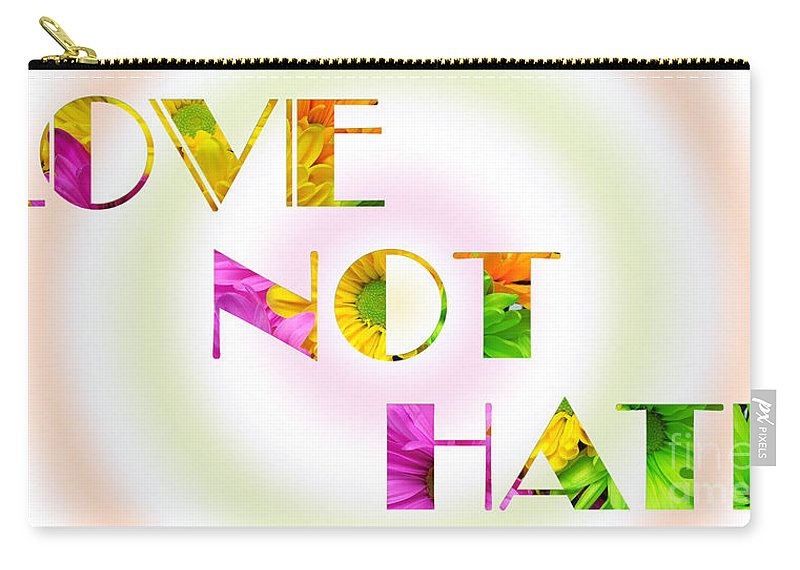 Andee Design Daisy Carry-all Pouch featuring the photograph Love Not Hate Rainbow Crazy Daisies by Andee Design