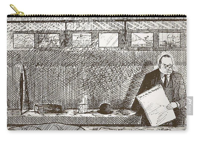 Cartoon Carry-all Pouch featuring the drawing Love Of Travelling Alone, Illustration by Pont