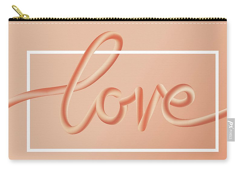 Home Decor Carry-all Pouch featuring the digital art Love Text Lettering In Red Color by Apagafonova