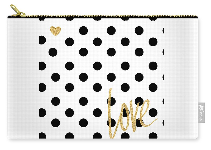 Love Carry-all Pouch featuring the digital art Love With Dots by South Social Studio