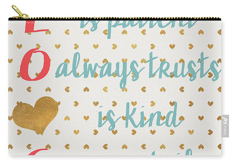 Love Carry-all Pouch featuring the digital art Love With Gold Hearts by Sd Graphics Studio