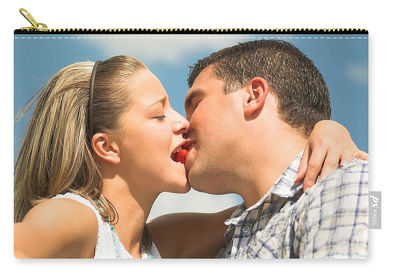 Lovely Couple Kisseating A Strawberry Carryall Pouch For Sale By Mesmerizing Lovely Couple Com