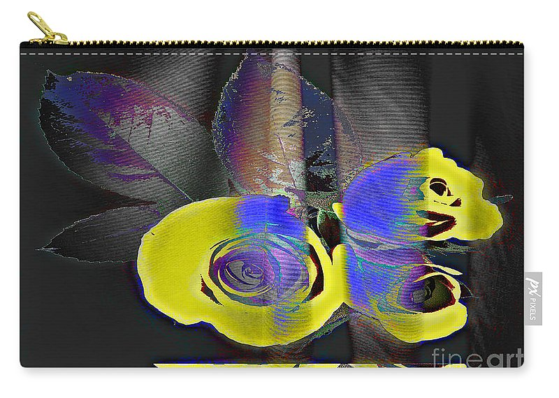 Yellow Rose Image Carry-all Pouch featuring the digital art Lovely II by Yael VanGruber