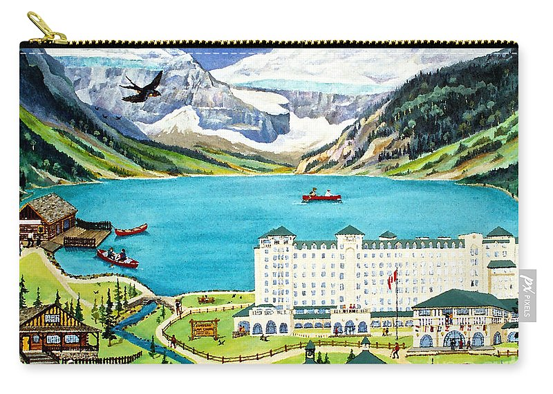 Lake Louise Carry-all Pouch featuring the painting Lovely Lake Louise by Virginia Ann Hemingson