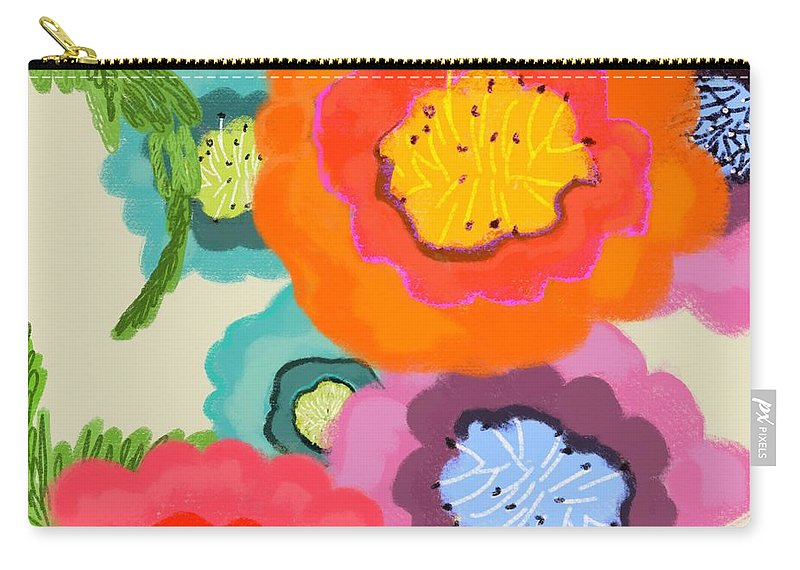 Floral Carry-all Pouch featuring the painting Lovely Square by Christine Fournier