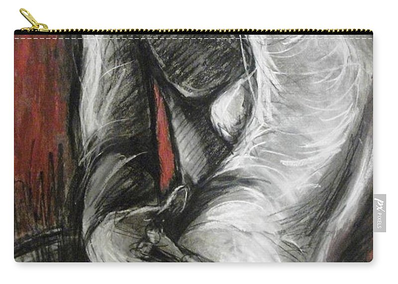 Lovers Carry-all Pouch featuring the painting Lovers - The Kiss1-rodin by Carmen Tyrrell