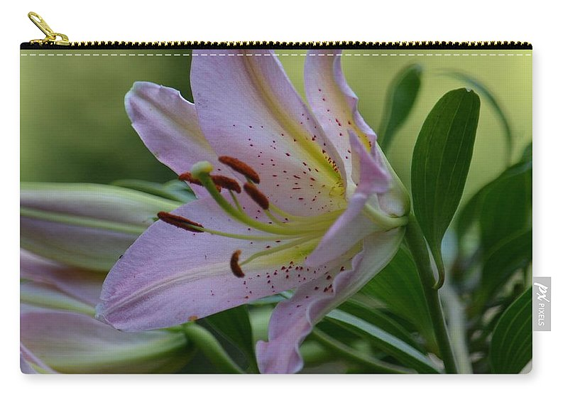 Loving Lilies Carry-all Pouch featuring the photograph Loving Lilies by Maria Urso