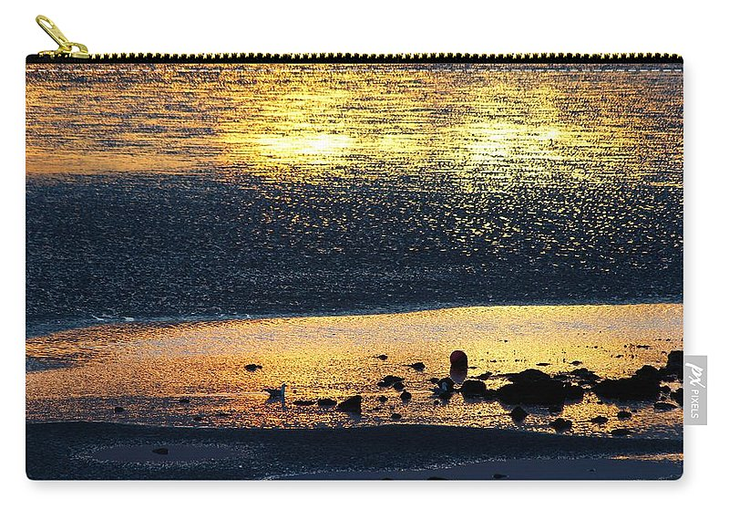 Sun Set Carry-all Pouch featuring the photograph Low Tide Gold by Robert Phelan