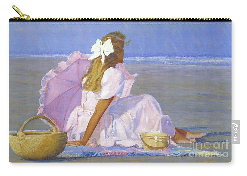 Impressionist Carry-all Pouch featuring the painting Low Tide Lady by Candace Lovely