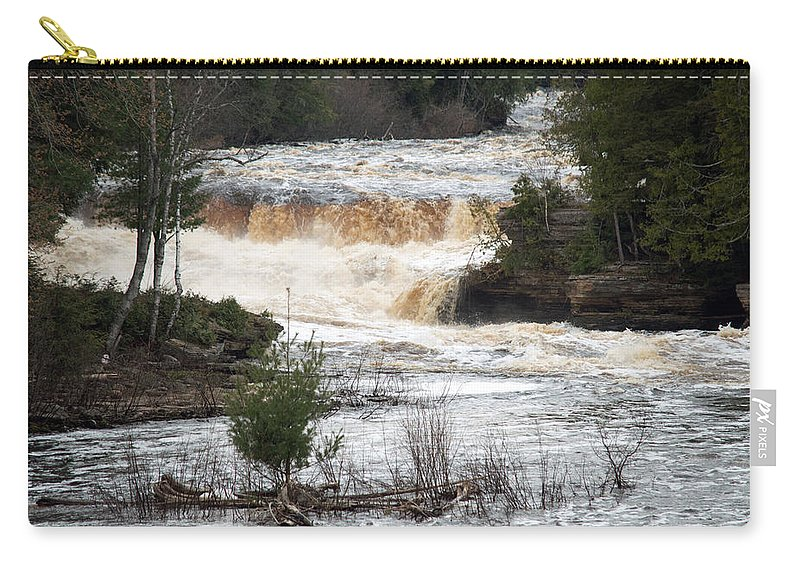 Tahquamenon Falls Carry-all Pouch featuring the photograph Lower Falls by Linda Kerkau