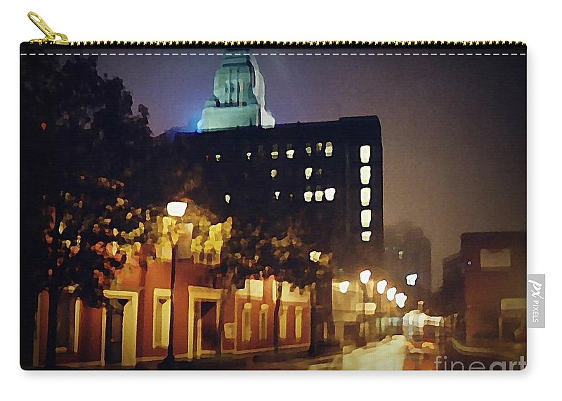 Halifax City Carry-all Pouch featuring the painting Lower Water Street In The Fog Halifax Nova Scotia by John Malone