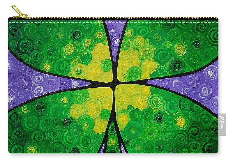Shamrock Carry-all Pouch featuring the painting Lucky One by Sharon Cummings