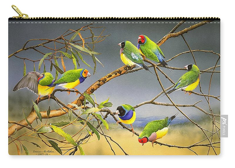 Gouldian Finches Carry-all Pouch featuring the painting Lucky Seven - Gouldian Finches by Frances McMahon