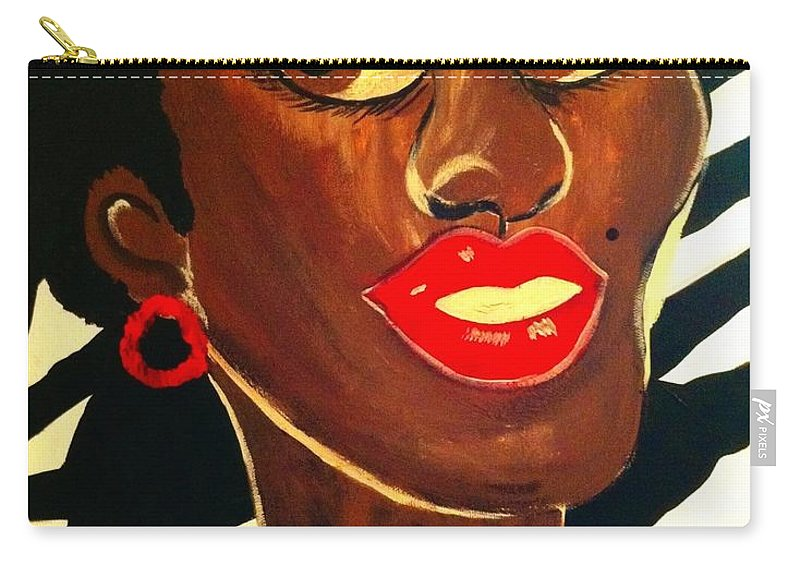 Lips Carry-all Pouch featuring the painting Lucy by Saundra Myles