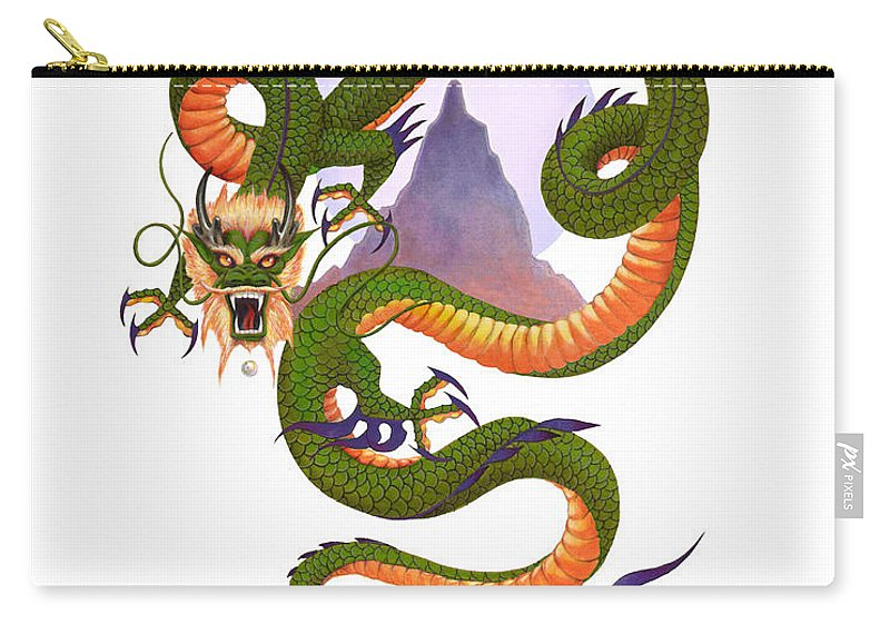 Dragon Carry-all Pouch featuring the digital art Lunar Chinese Dragon Variation by Melissa A Benson