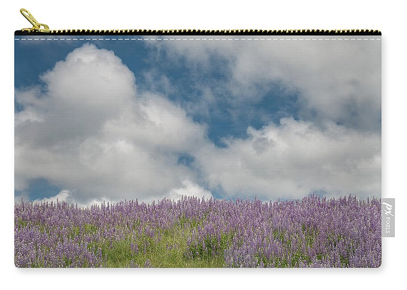 Lupine Carry-all Pouch featuring the photograph Lupine Field Under Clouds by Greg Nyquist