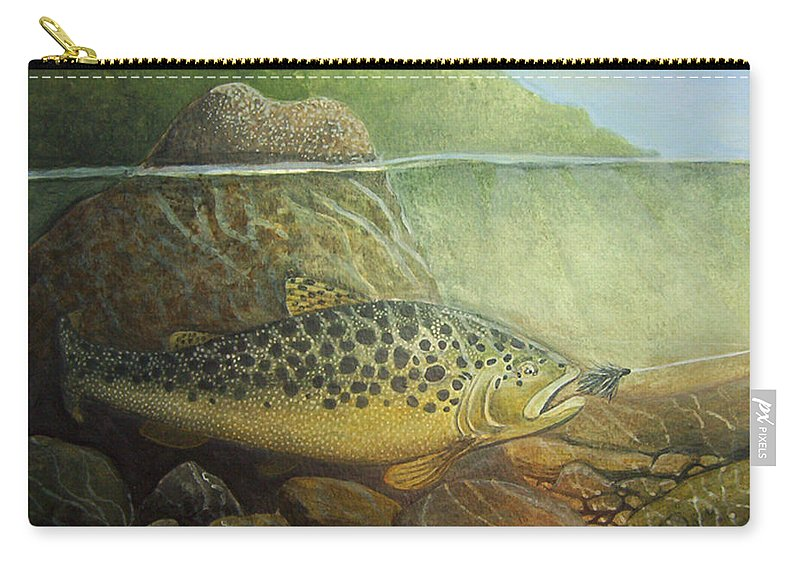 Rick Huotari Carry-all Pouch featuring the painting Lurking by Rick Huotari