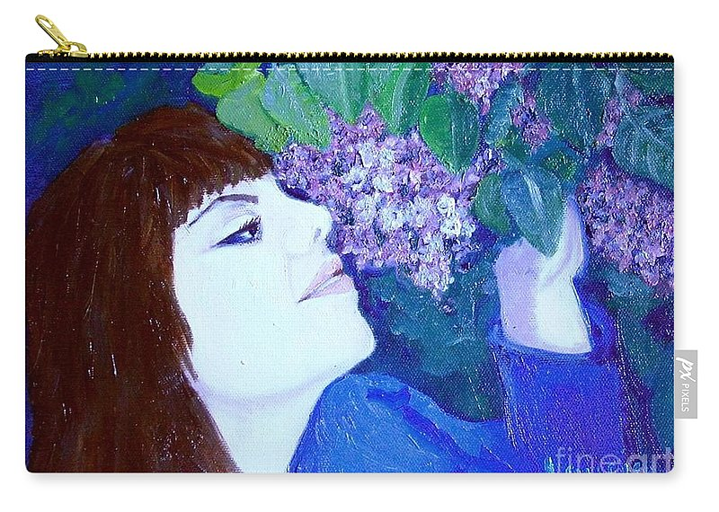 Lilacs Carry-all Pouch featuring the painting Lush Lilacs by Laurie Morgan