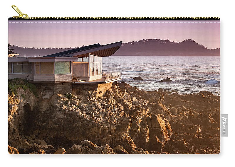 Water's Edge Carry-all Pouch featuring the photograph Luxury Home Overlooks The Big Sur by Pgiam
